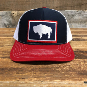 WyoMade Bison Trucker- Navy/Red
