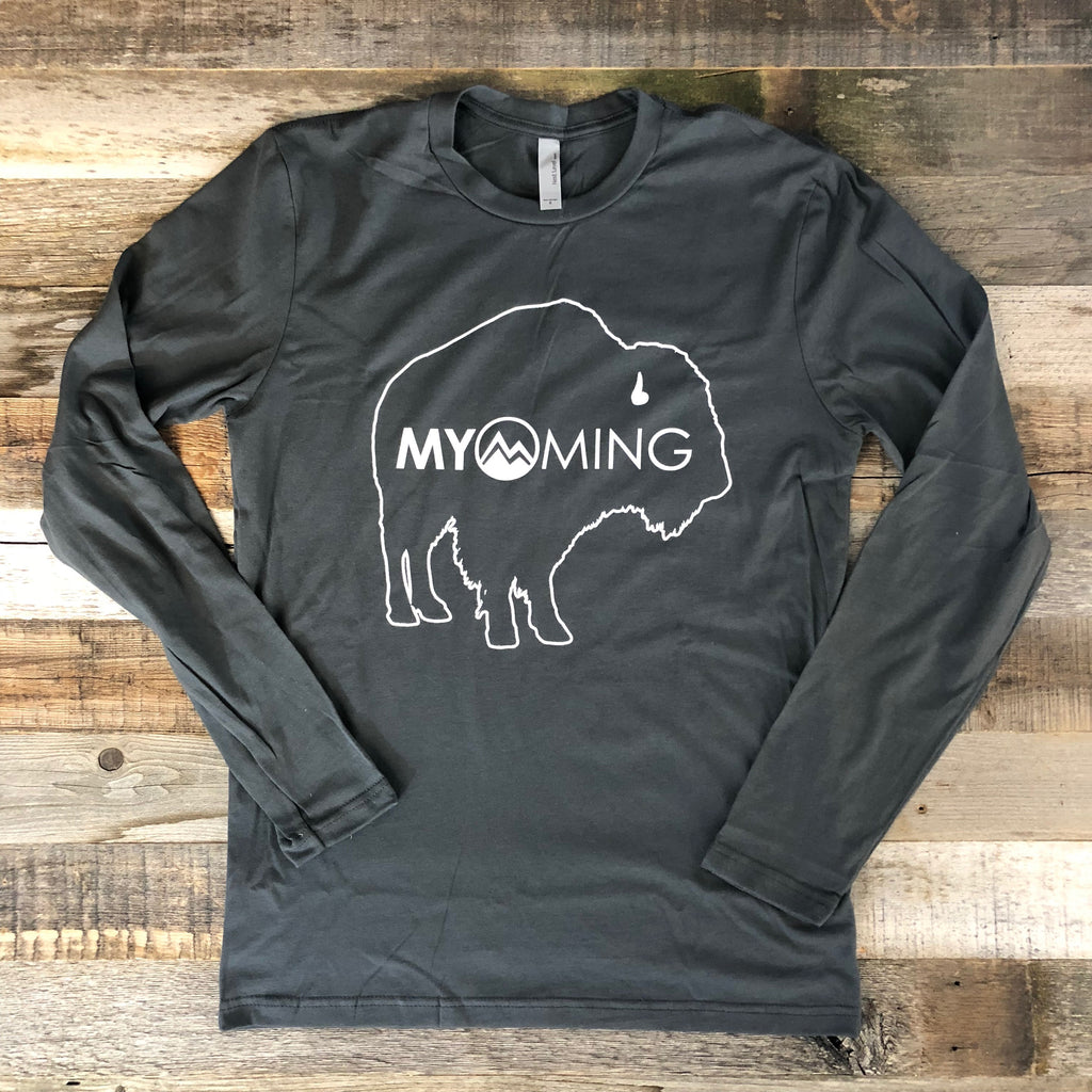 Men's Myoming Bison Long Sleeve-Grey