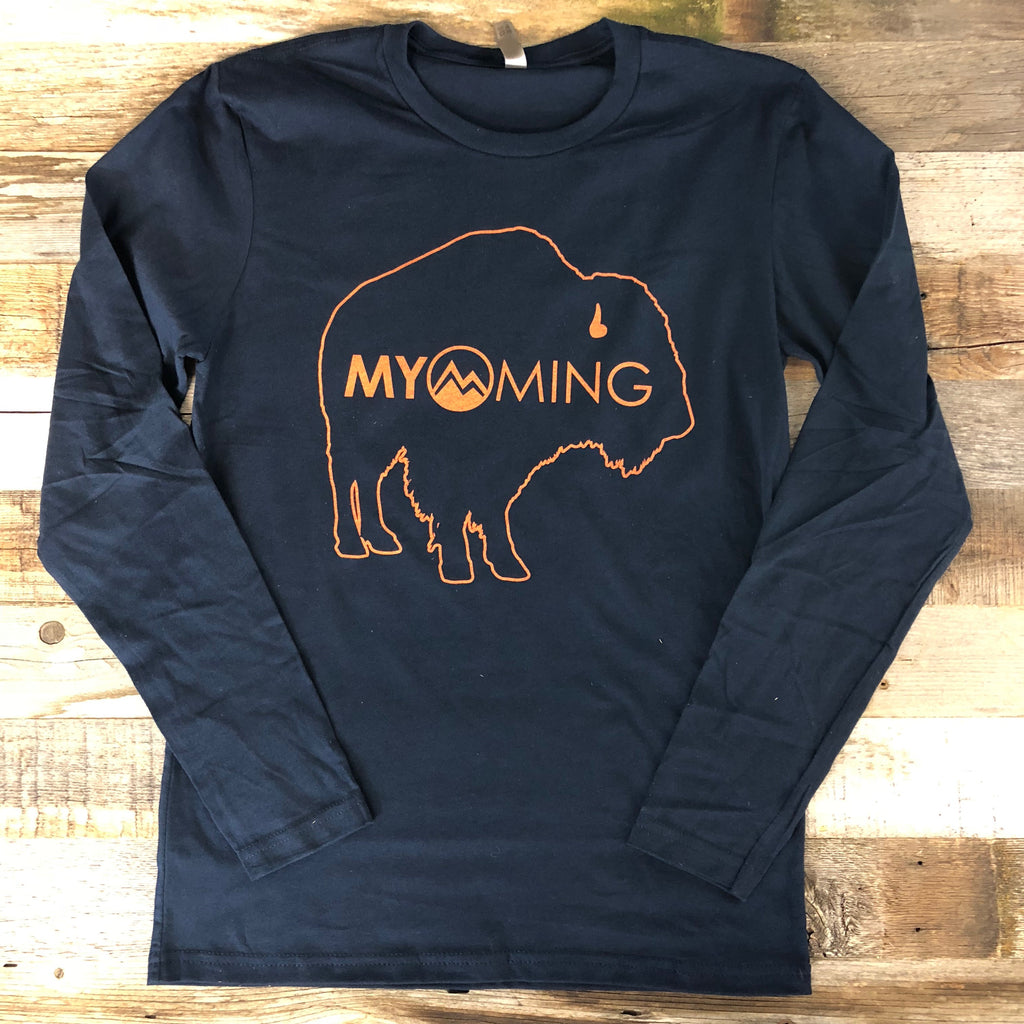 Men's Myoming Bison Long Sleeve- Navy