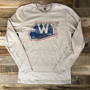 Men's WyoMade Vintage WY Long Sleeve- Heather Grey