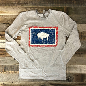 Wyoming Bison Flag Long Sleeve Tee | WyoMade Apparel | Unisex