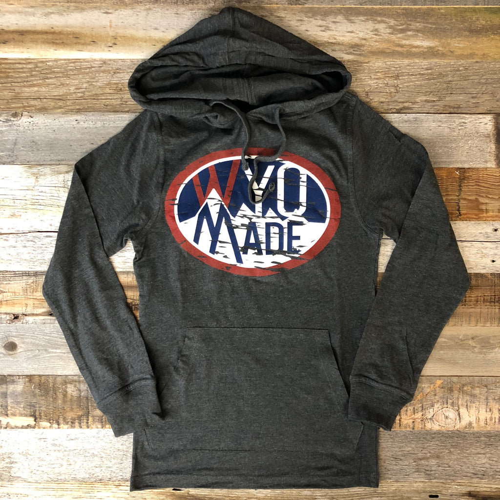 Vintage WyoMade Hooded Long Sleeve- Charcoal