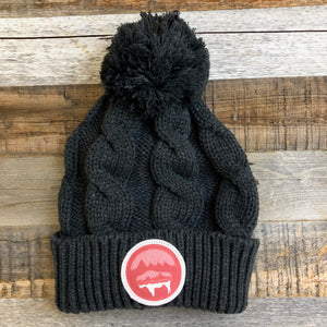 Bison Moon Pom Beanie- Red Patch