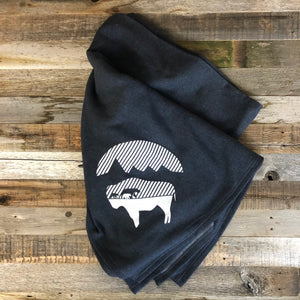 Bison Moon Stadium Blanket | WyoMade Accessories | Navy Mama Bear