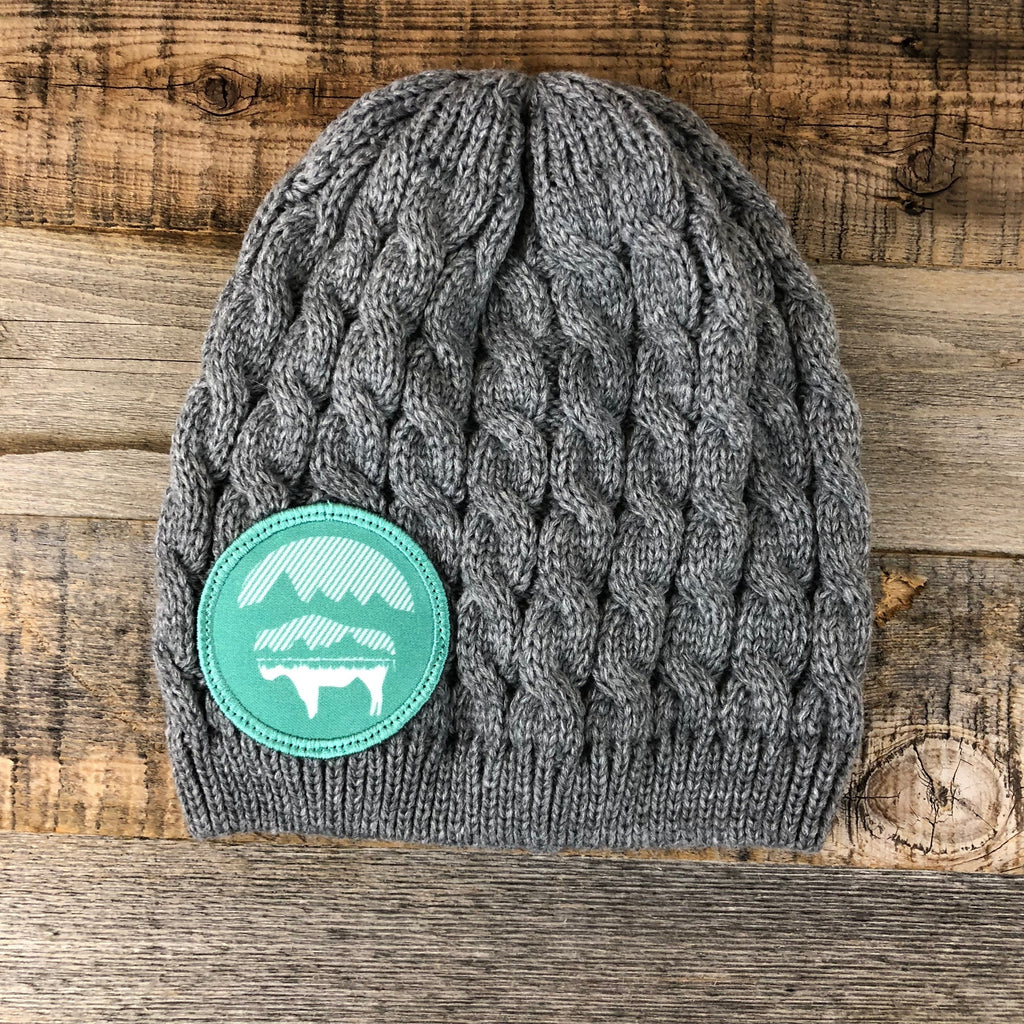 Bison Moon Knit Beanie- Teal Patch