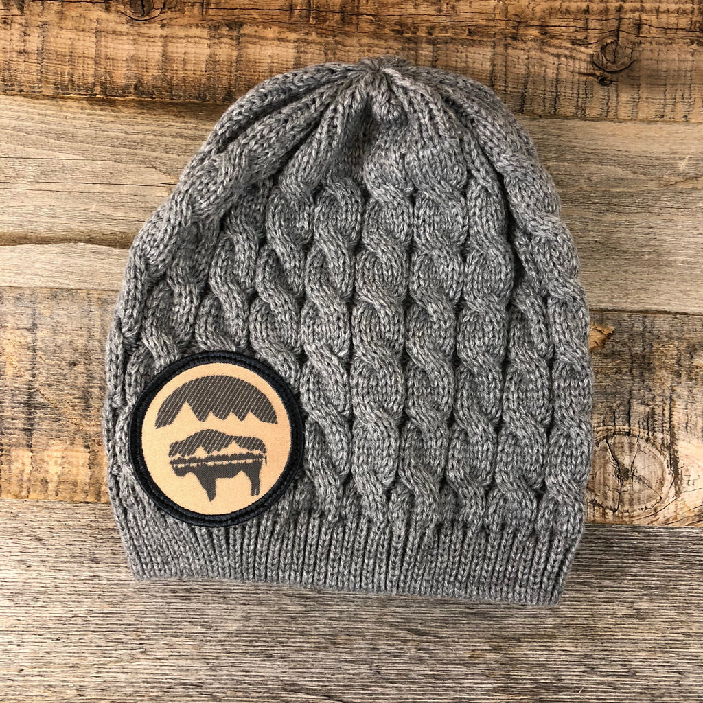 Bison Moon Knit Beanie- Tan Patch