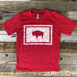 Youth Bison Flag Tee- Red