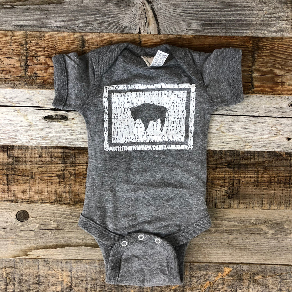 Bison Flag Onesie- Grey