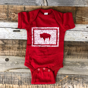 Bison Flag Onesie- Red