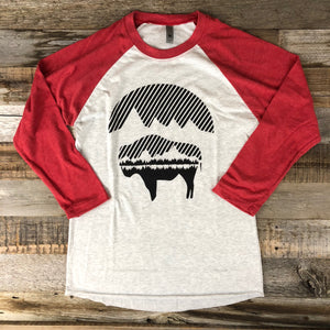 Women's Bison Moon Baseball Tee- Red