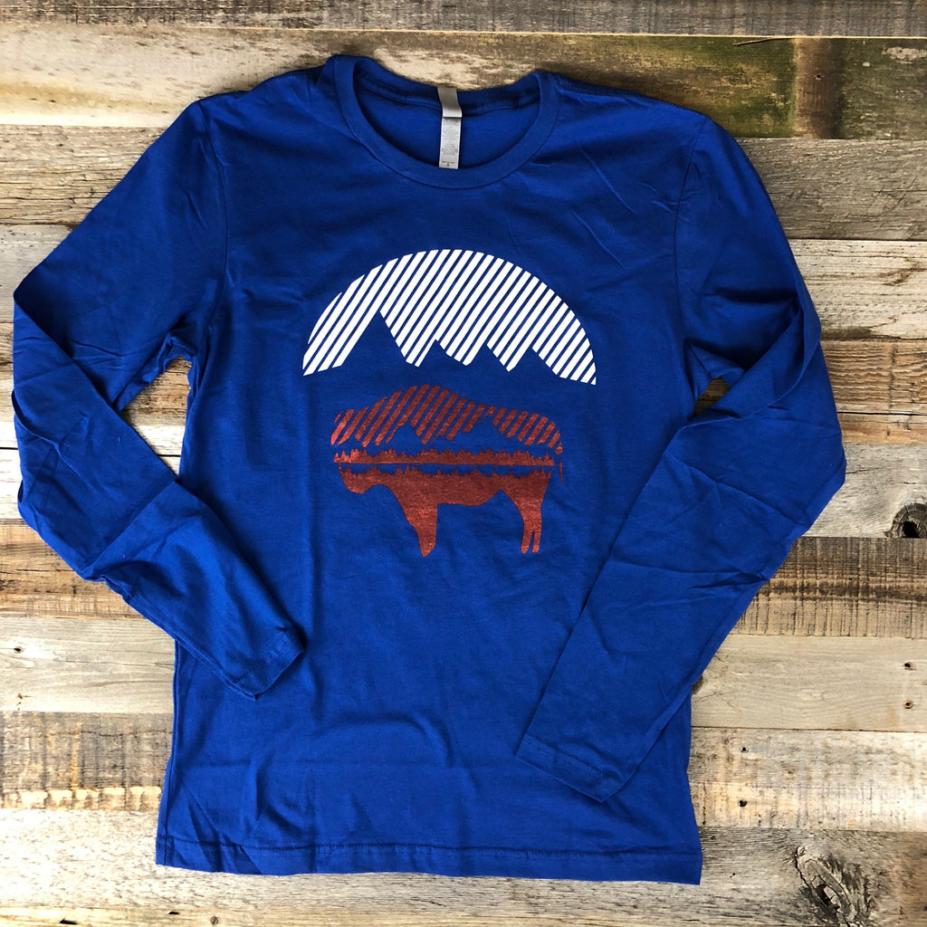 Bison Moon Reflection Long Sleeve Tee | WyoMade Apparel | Unisex