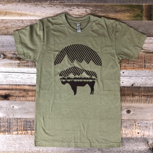Men's Bison Moon Tee- Olive