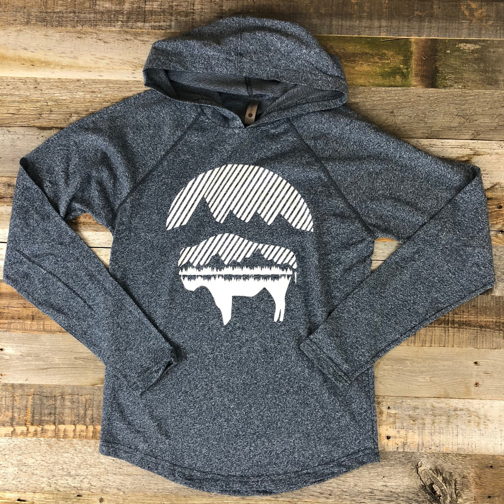 Bison Moon Hooded Long Sleeve- Heather Blue