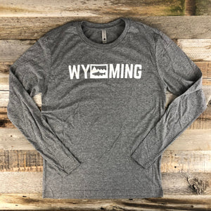 Men's Wyoming Trout Long Sleeve- Heather Grey
