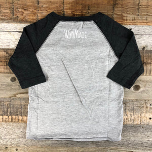 Youth Wyoming RAWR Baseball Tee- Heather Grey/Black