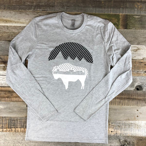 Men's Bison Moon Long Sleeve- Heather Grey
