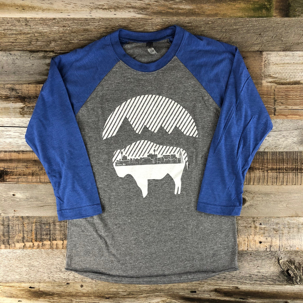 Womens Bison Moon Baseball Tee- Blue/Grey