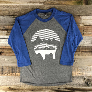Bison Moon Cityscape Baseball Tee | WyoMade Apparel | Unisex