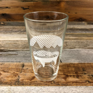 Bison Moon Pint Glass- City Scape