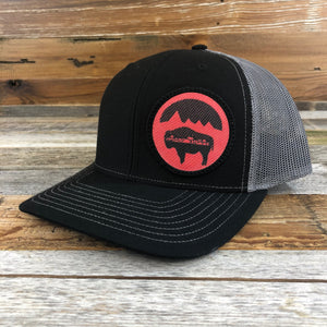 WyoMade Bison Moon Red Patch Trucker- Black