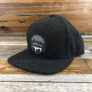 WyoMade Bison Moon Wool Patch Trucker- Charcoal