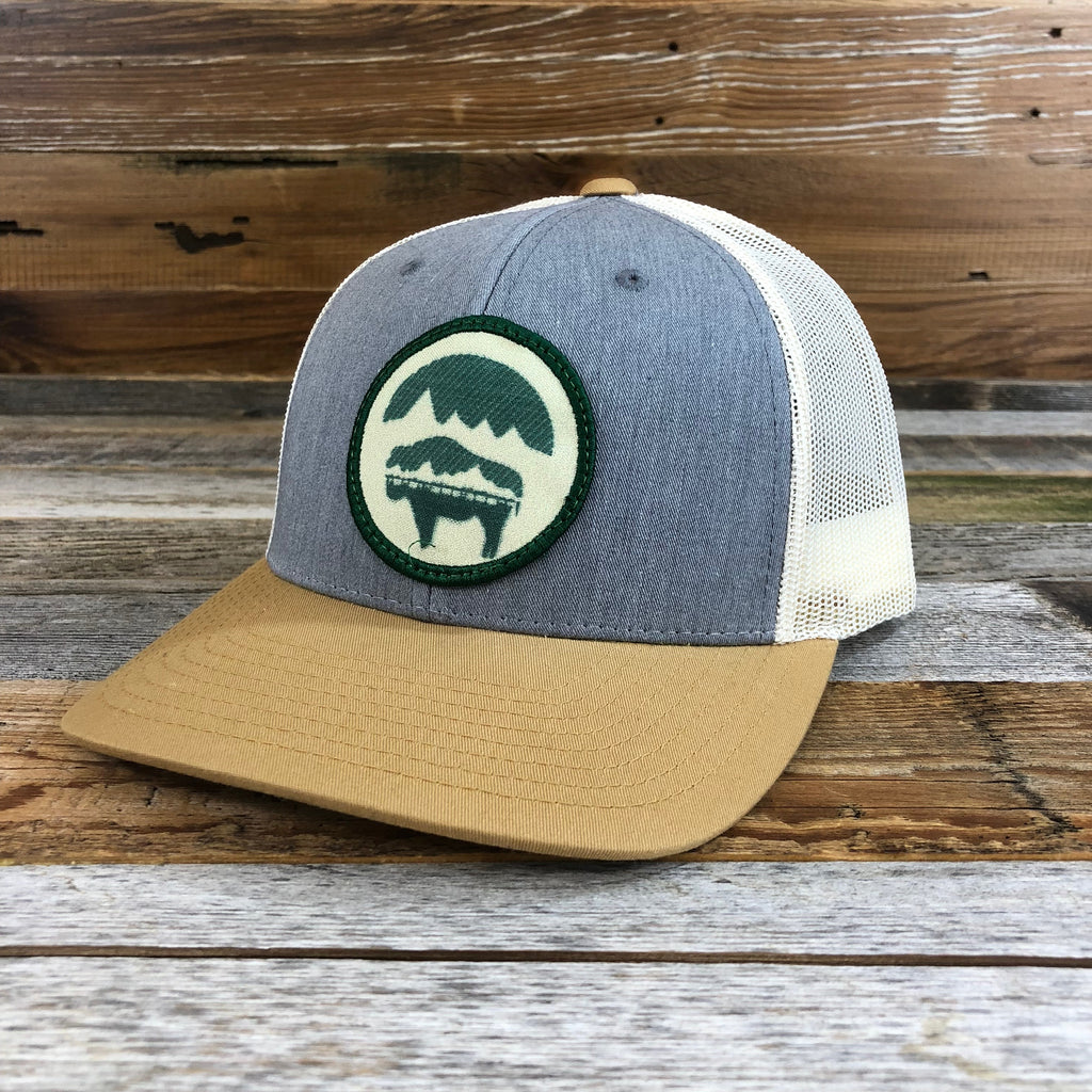 WyoMade Bison Moon Patch Hat- Grey/Amber