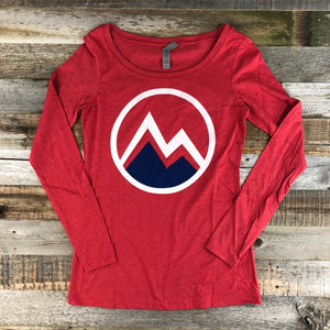 Women's Myoming Mountain Long Sleeve- Red