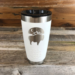 Bison Moon Tumbler | 20 oz | White The WyoMade Bison Moon Tumbler is pure beverage containment for 20 ounces of your favorite hot or cold drink.  It comes with a smooth-flow sippy-lid for direct beverage enjoyment.  This White colored Tumbler is designed for any Wyoming lifestyle and will surely allow you to roam free with your favorite beverage.  Bring some life to the herd with a Bison Moon Tumbler from WyoMade.