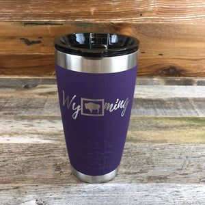 Wyoming Tumbler | 20 oz | Purple The WyoMade Wyoming Tumbler is pure beverage containment for 20 ounces of your favorite hot or cold drink.  It comes with a smooth-flow sippy-lid for direct beverage enjoyment.  This Purple colored Tumbler is designed for any Wyoming lifestyle and will surely allow you to roam free with your favorite beverage.  Bring some life to the herd with a Wyoming Tumbler from WyoMade.