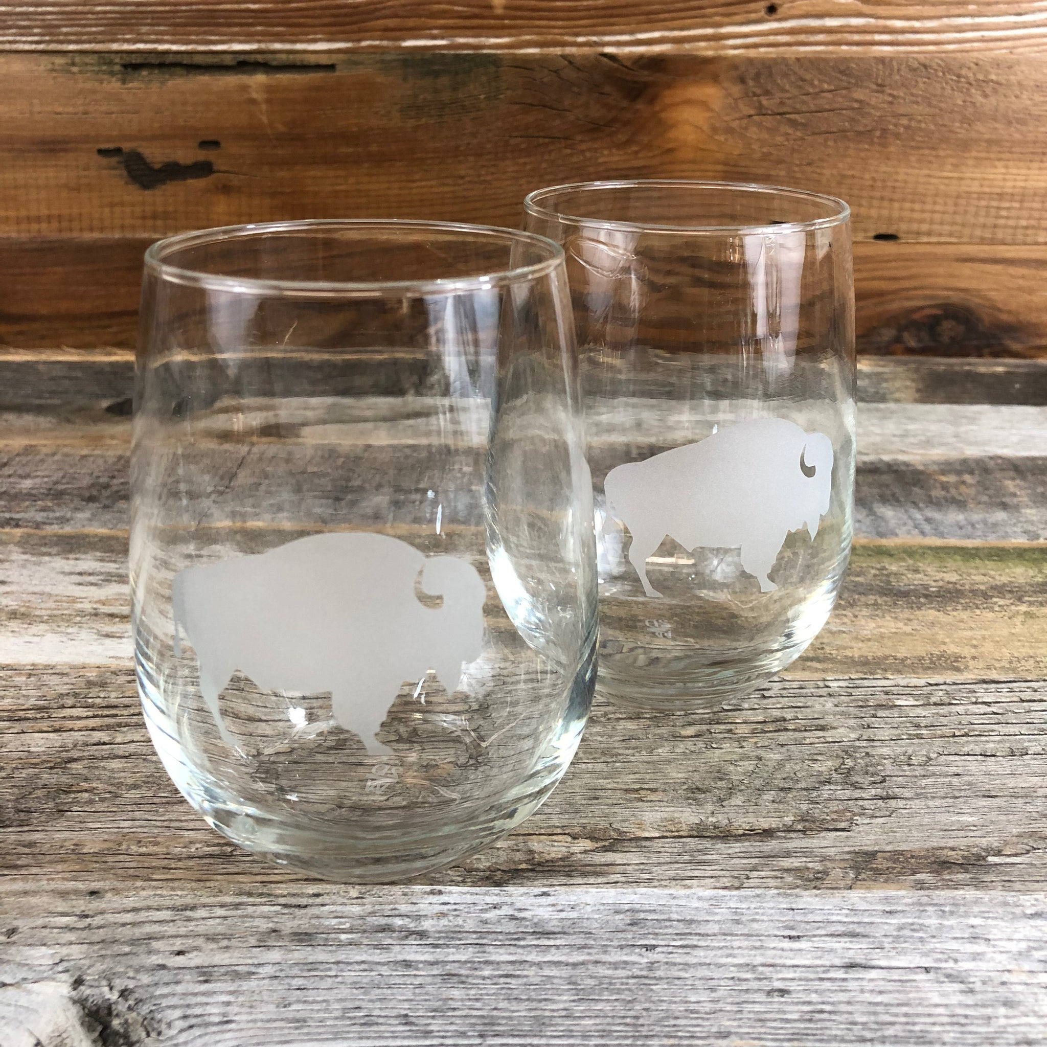 WYO Stemless Wine Glass- Buffalo