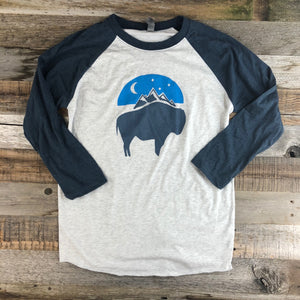 Bison Moon Baseball Tee | WyoMade Apparel | Blue/Blue
