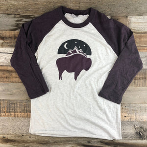 Bison Moon Baseball Tee | WyoMade Apparel | Women's