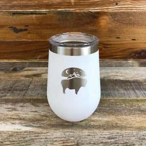 WyoMade | Bison Moon Wine Tumbler | White