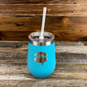 Bison Moon Wine Tumbler | 12 oz | Ocean Blue