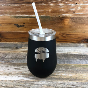 Bison Moon Wine Tumbler | 12 oz | Black