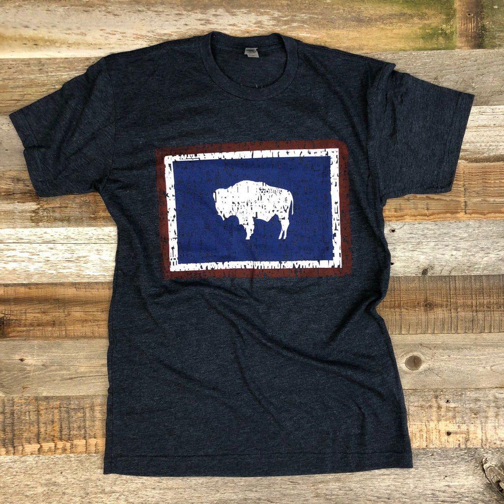Wyoming Bison Flag Tee | WyoMade Apparel | Unisex - Navy