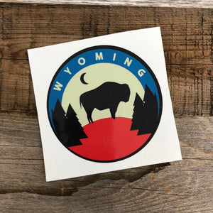 WyoMade!   The Bison represents freedom and is a staple of Wyoming's open spaces. This sticker is sure to appease your desire to roam free.  Be a part of the herd with the Backwoods Bison from Wyomade.    Size:  3.5""