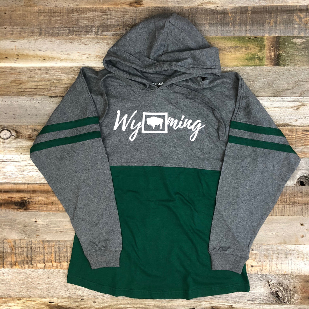Women's Block Hooded Long Sleeve - Green/Grey