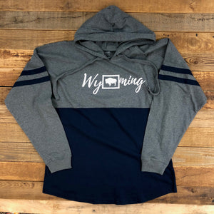 Wyoming Bison Hooded Long Sleeve Navy | WyoMade Apparel | Women's