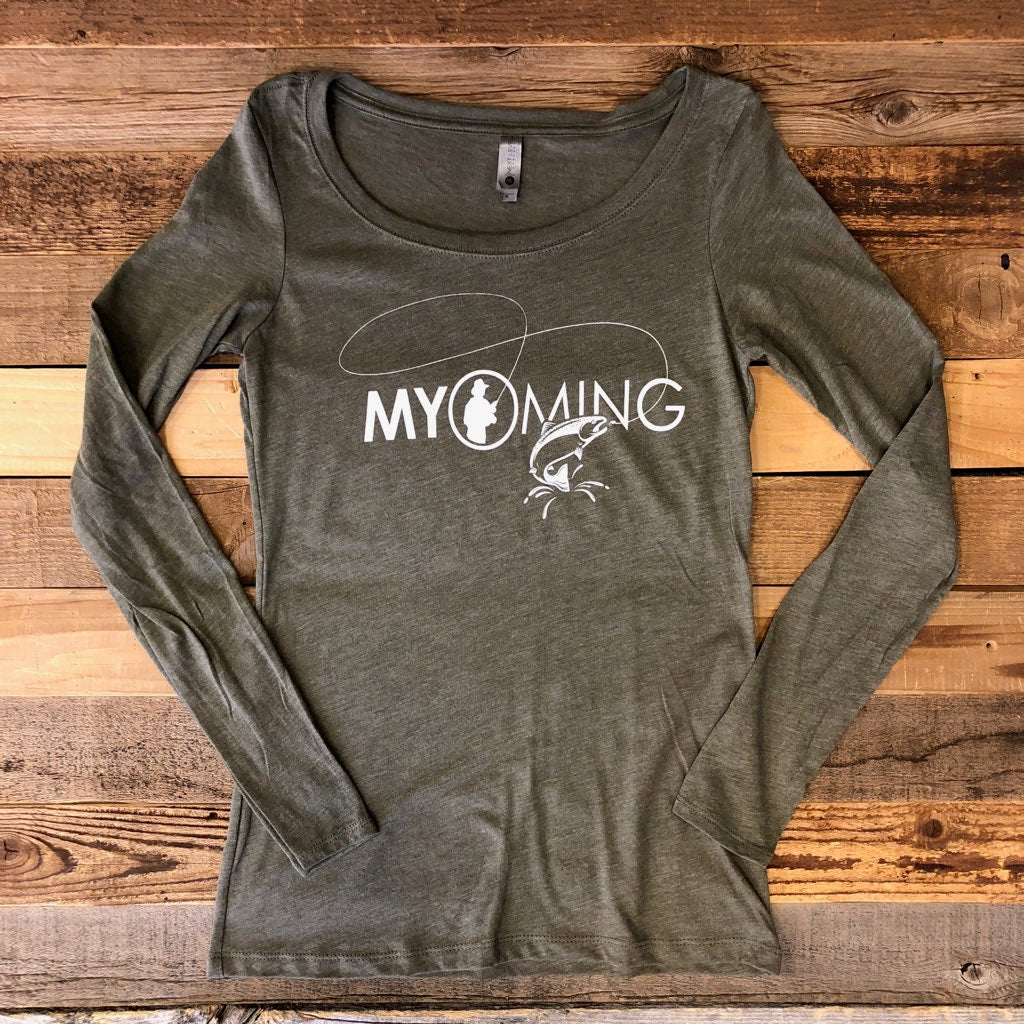 Women's Fish Myoming Long Sleeve- Vintage Green