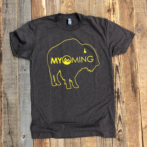 Men's Myoming Bison Tee- Espresso