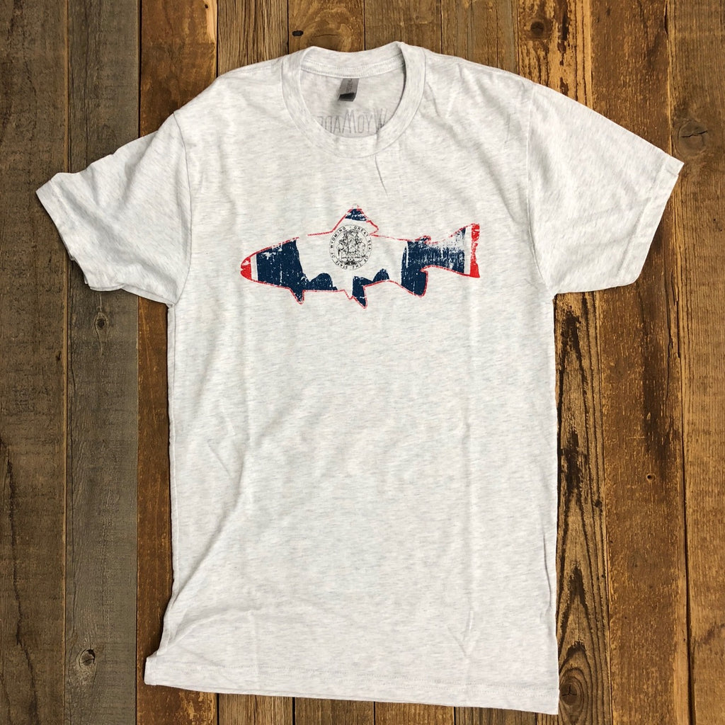 Men's WyoMade Trout Flag Tee- Light Grey