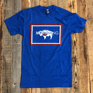 Men's Myoming Flag Bison Tee- Royal Blue