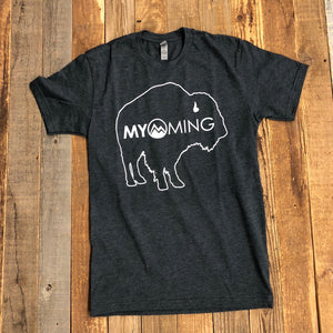 Men's Myoming Bison Tee- Charcoal