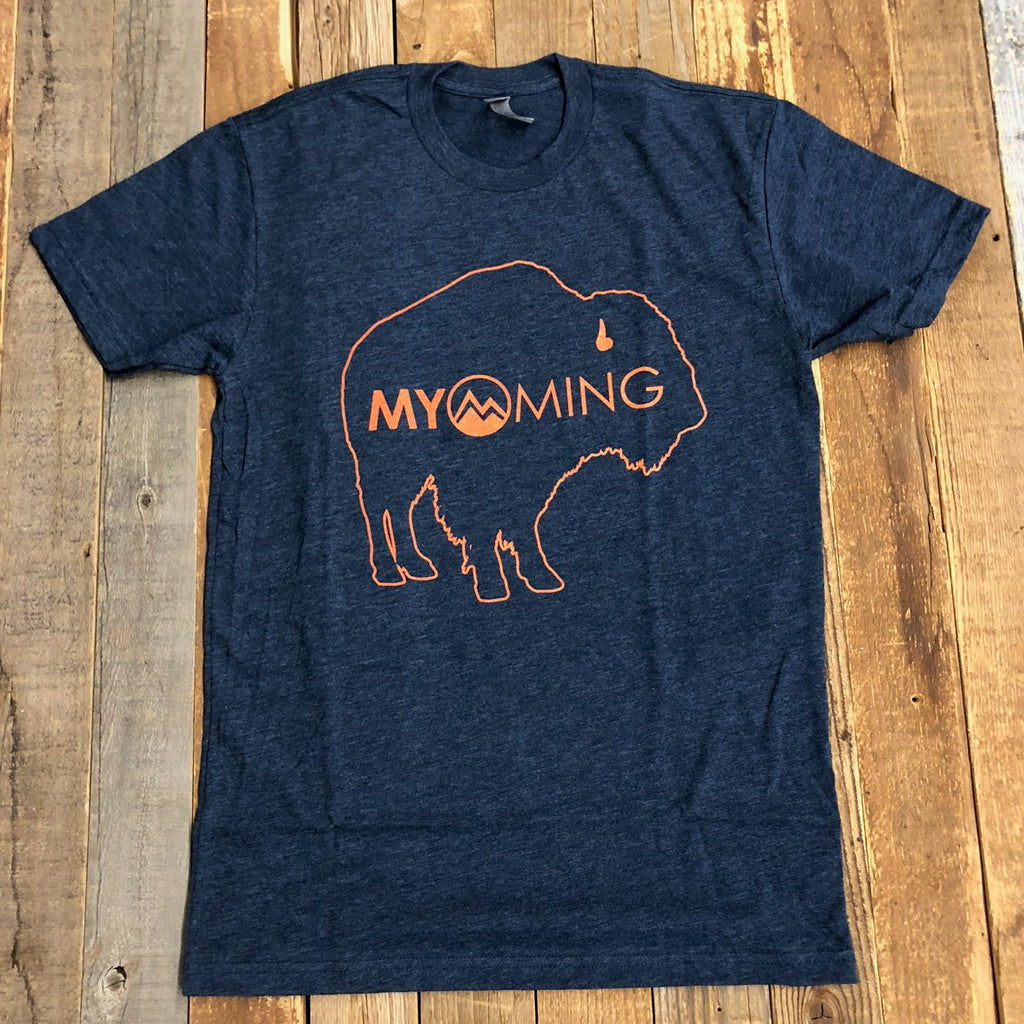 Men's Myoming Bison Tee- Navy