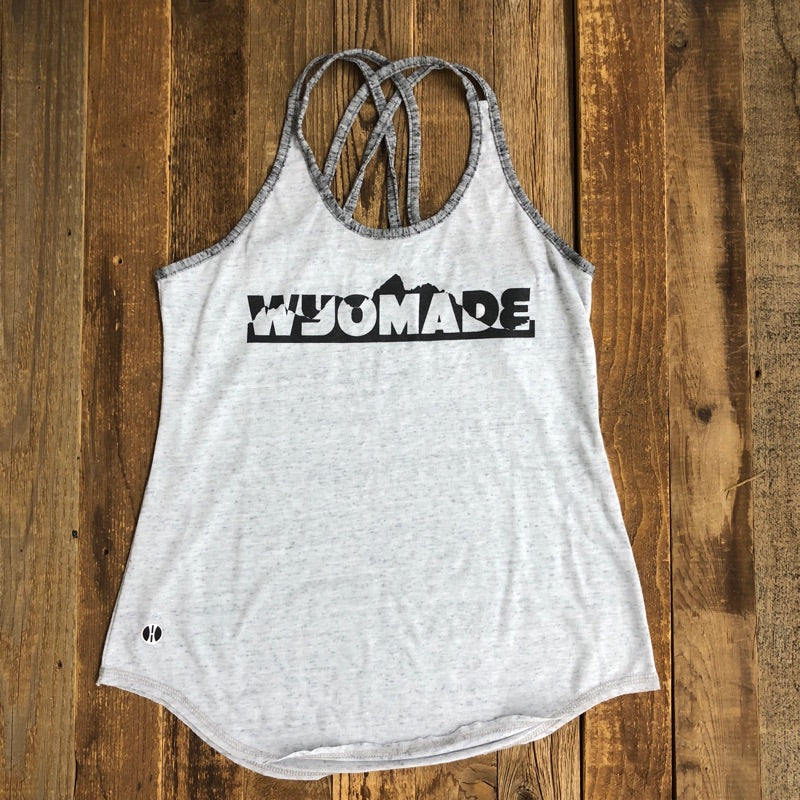 Women's WyoMade Teton Strappy Tank- Light Grey