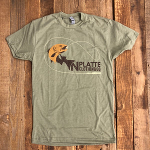 Men's North Platte Clothing Co. Fly Rod Trout Tee- Olive