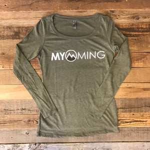 Women's Myoming Long Sleeve- Military Green w/Brown
