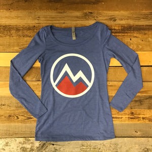 Women's Myoming Mountain Long Sleeve- Blue