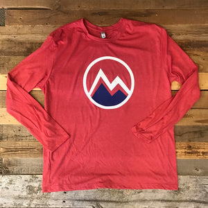 Men's Myoming Mountain Long Sleeve- Vintage Red